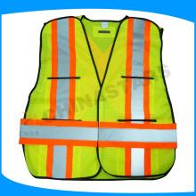 100% poliéster colete de segurança 110gsm malha com vários bolsos