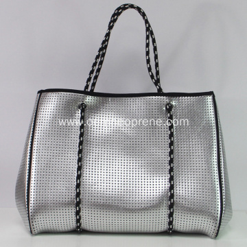 Summer Logo custom silver metal color beach bag