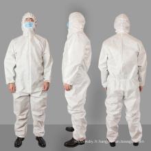 Combinaison non tissée Sms Combinaison de protection pour hôpital Vêtements Isolation Robe jetable 50 G / M2 contre le virus Corona, Ebola