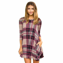 Premium cotton evening dress digital printed plaid short sleeve women Casual Dresses