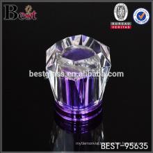 purple crystal flower cap perfume, surlyn flower cap perfume for crimp on neck perfume bottle