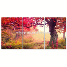 Arte de la lona del bosque del otoño para la decoración casera / la pintura de la lona del árbol de arce / el arte de la pared de la lona del paisaje natural de Dropship