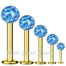 316L aço inoxidável cirúrgico fábrica chapeado ouro preço Lip Piercing baixa