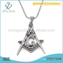 In stock stainless steel masonic pendant,silver masonic pendant design