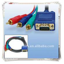 VGA de alta qualidade para 3RCA M / M CABLE Converter de sinal VGA para RCA
