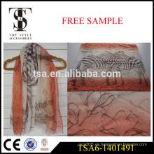 100% poliéster bufanda viscosa voile ligero cebra estampado bufandas