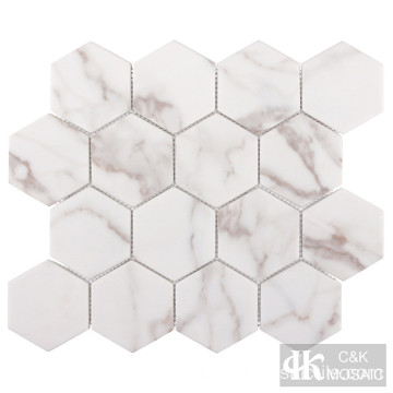 Calcutta Gold Marble Hexagon Printing Glass Mosaic