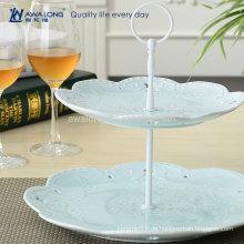 Blau und Rosa Elegant Feinporzellan Blume Design Keramik Dessert Teller, Weihnachten Zwei Ebenen Platten Günstig