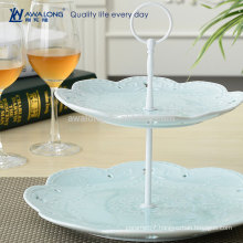 Blue And Pink Elegant Fine Porcelain Flower Design Ceramic Dessert Plates, Christmas Two Layers Plates Cheap