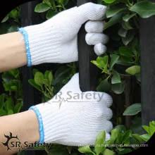 SRSafety 7 Вязаные отбеленные поликоттовые дешевые белые хлопчатобумажные перчатки