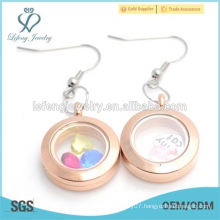 Wholesale new stainless steel rose gold round locket earrings jewelry