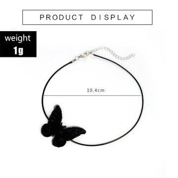 Black White Lace Butterfly Choker Cup Short Pendant Necklace for Girls Women