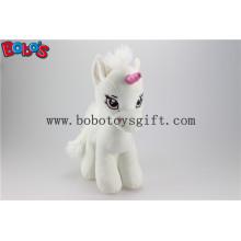Weiche Lovely White Baby Gefüllte Einhorn Tier Spielzeug mit langen Plüsch Pelz Bos1187