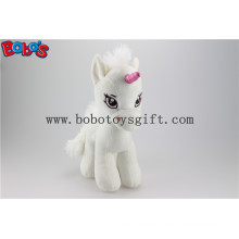 Soft Lovely White Baby Stuffed Unicorn Animal Toy with Long Plush Fur Bos1187