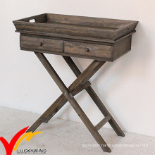 Fsc Wood Butlers Serving Tray with 2 Drawers Cross Legs