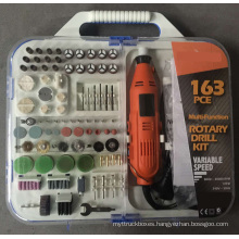 163pcs 135W Portable Hobby Grinder Accessory Set with Flex Shaft Handheld Electric Mini Rotary Tools Kit