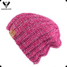 Women′s Acrylic Iceland Yarn Knitting Hat with Lurex Yarn