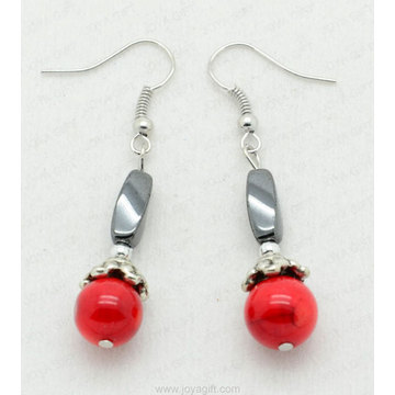 Red Coral Twist Beads hematite earring