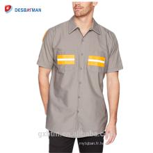 Personnalisé Fournisseur En Gros Sécurité Vêtements de Travail Réfléchissant Bande Uniforme À Manches Courtes Salut-vis de Travail Chemise