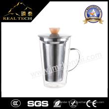 Tasse à café en verre 400 ml Conception de café Verre Tasse Latte Café Cuillère en laiton Copier en verre à bon prix