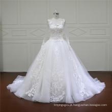 Longo trem vestidos de casamento a linha puffy (xf16015)