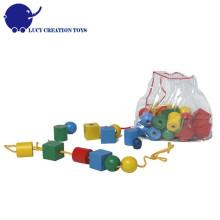 36 Stk. Holzperle Schnürung Spielzeug