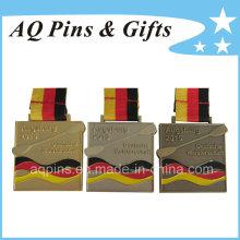 Medalla cuadrada en chapado en oro antiguo / plata / bronce