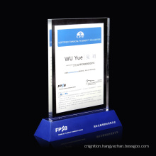 Custom design logo advertising acrylic sign stand  Customized Clear Plastic Acrylic Awards  Trophy for
