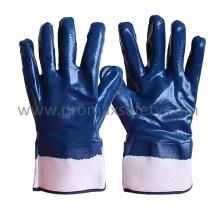 Jersey Cotton Liner Blue Nitrile Gants entièrement revêtus avec manchette de sécurité