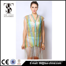 Top selling products 2016 Summer Ladies Tassels colorful poncho dress