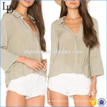 Neues Design elegante Damen tiefem V-Ausschnitt Frau Mode lose Shirt Bluse