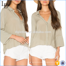 New Design elegant ladies deep v neck Woman fashion loose Shirt Blouse