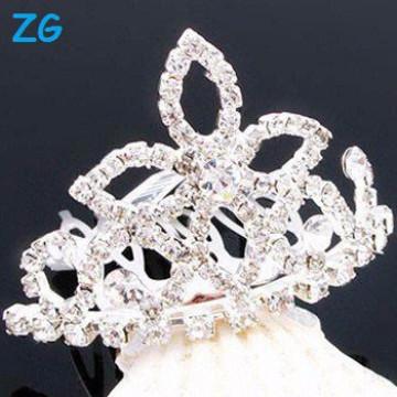 Elegante pentes franceses de cristal, pentes de cabelo de casamento de fantasia, pentes nupciais de cristal, pentes de cabelo flor