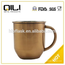 450ml color painted stainless steel tea mug with handle