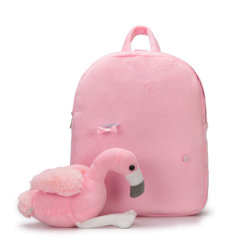 Cute Flamingo Plush Backpack 1