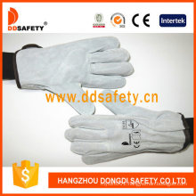 Cow Split Leather Driver Glove Gold Supplier in China