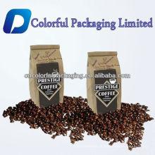 Saco de empacotamento personalizado do café do papel de embalagem dos sacos do reforço do lado de 250g 500g com laço da válvula e do estanho