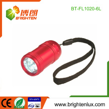 Factory Wholesale 2 * CR2032 Button Cell Usé en aluminium bon marché en aluminium pour enfants Petite 6 lampe de poche led avec bracelet