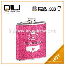 6oz color rojo brillo de cuero envuelto el regalo de cumpleaños de acero inoxidable metal frasco de la cadera