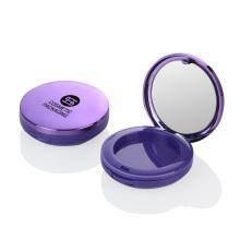 OEM purple Foundation plastic loose powder case Luxury round empty cosmetic loose powder case