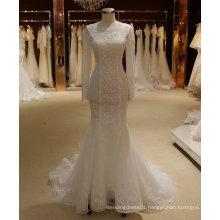 Mermaid Illusion Neck Long Sleeve Wedding Dress