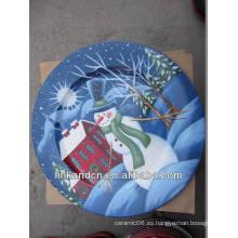 Fresco! Pintura de la mano azul muñeco de nieve plato placa plana