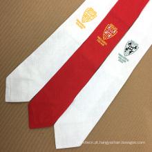 Laço bordado de seda de seda do logotipo da promo gravata