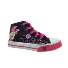 Moda dos desenhos animados alta anklechildren sapatos sapatilha (x166-s & b)