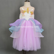 2019 New Boutique Frock Design Licorne Filles Robe