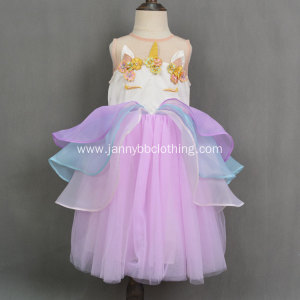 2019 New Boutique Frock Design Unicorn Girls Dress