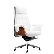Elegant Warm White Leather Office Chair High Back Executive Wooden Armrest Office Chair (HY-JY302A)