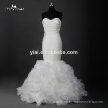 RQ116 Ivory Ruffled Pleated Satin Alibaba Mermaid Wedding Dress 2016