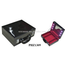 fashional PVC leather professional makeup case with lights hot sales