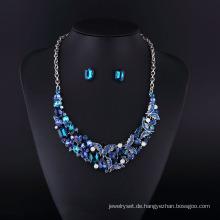 2016 Saphir Strass Zink Legierung Halskette Set
